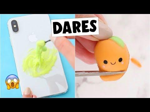 EXTREME MINI SLIME & SQUISHY DARES?! *making slime on my phone*