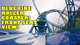 Battle of Blue Fire Roller Coaster Front Seat POV Quancheng Euro Park China 蓝火之战