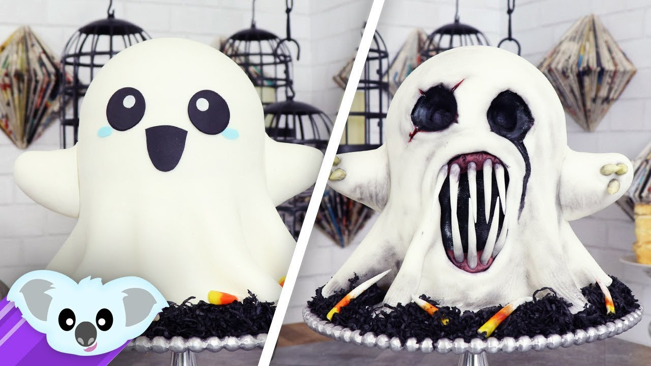 2 Faced Ghost Cake Scary Halloween Ideas Youtube