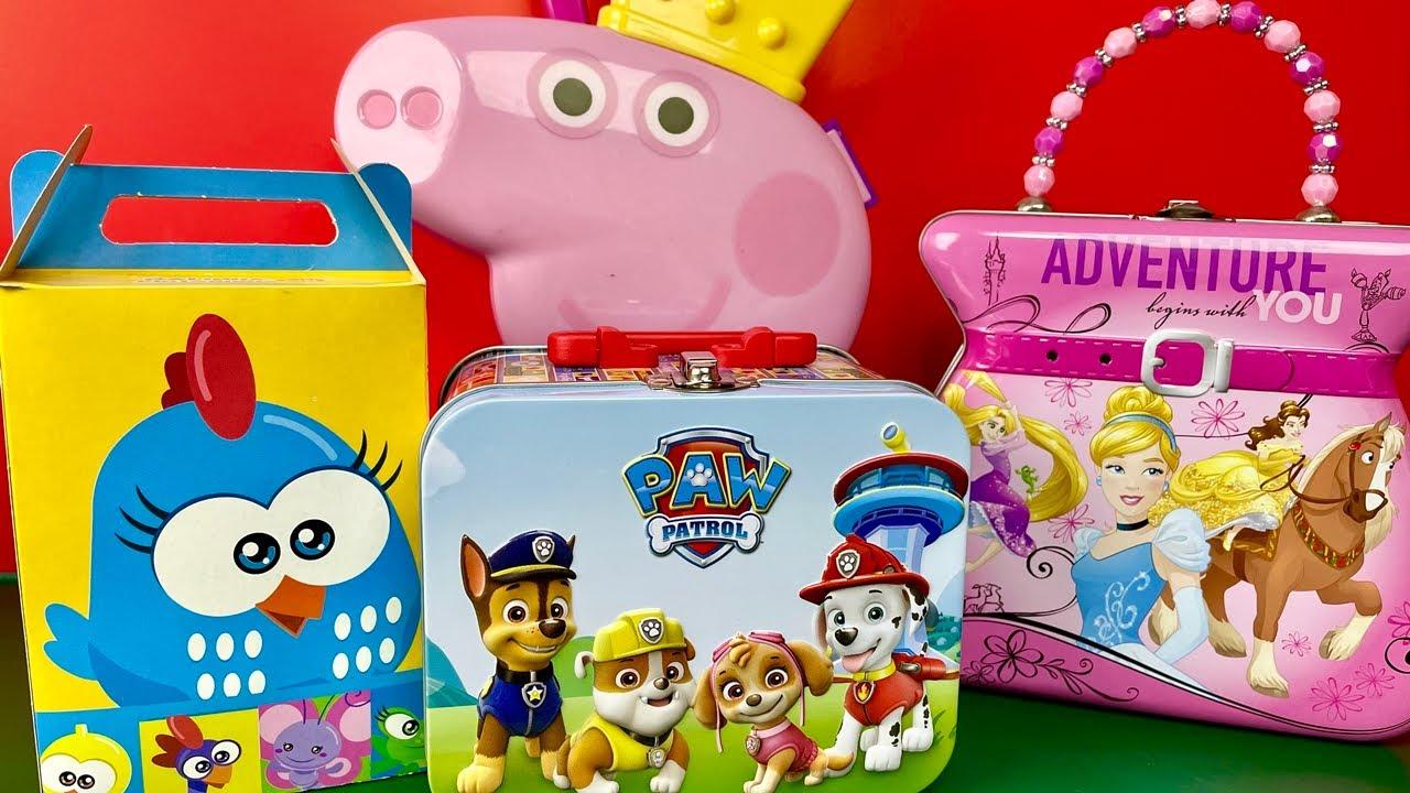 Lancheira Peppa Pig, Patrulha Canina, Princesas e Caixinha Galinha Pintadinha Com Surpresas