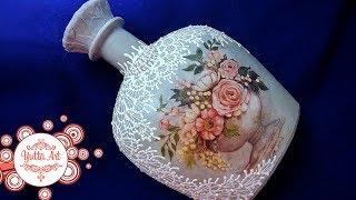 Декор бутылки. Кружевная роспись. Как сделать декупаж? Учимся вместе