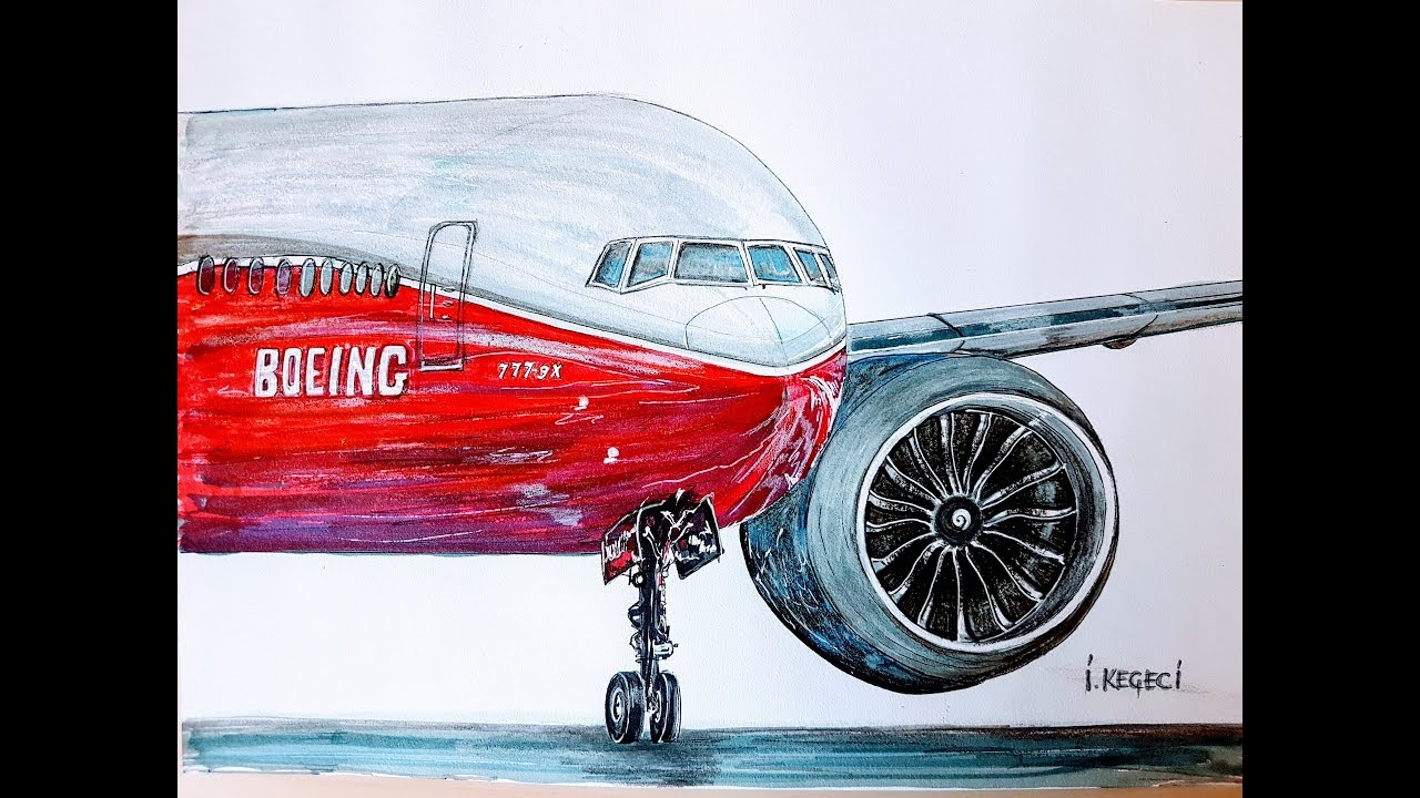 Boeing 777 9x Drawing Timelapse Youtube