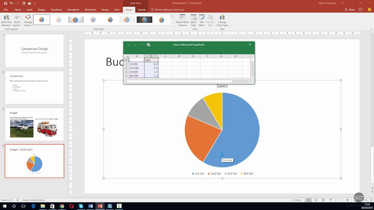 Powerpoint 2016 Insert And Edit A Pie Chart Youtube