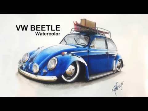 VW Beetle, Watercolor