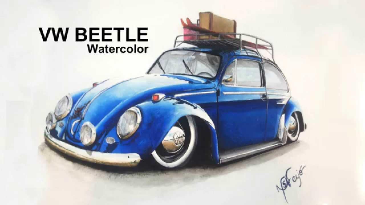 vw beetle watercolor youtube