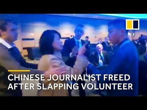 Chinese journalist who slapped volunteer at event on Hong Kong released by British police