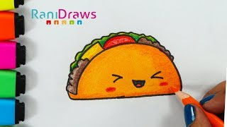 Cómo dibujar un TACO KAWAII FÁCIL - PASO A PASO - Draw a cute TACO EASY