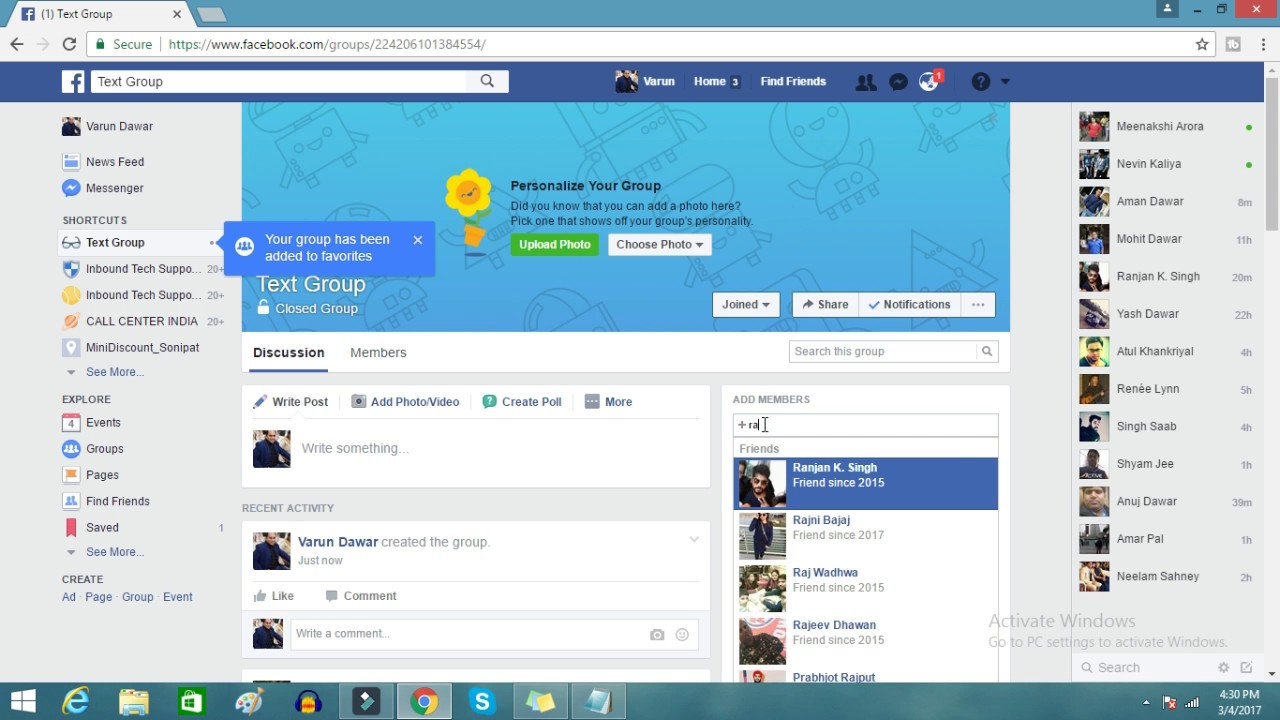 How to create a facebook page for a group