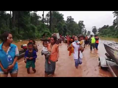 Extreme weather 2018 - Heavy rains bursts dam (Laos) - ITV News - 24th July 2018