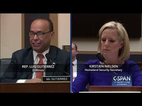 Exchange between Rep. Gutierrez and DHS Secretary (C-SPAN)