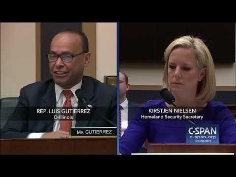 Exchange between Rep. Gutierrez and DHS Secretary (C-SPAN)