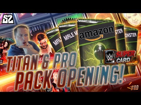 WWE SuperCard SEASON 4 TITAN PACK OPENING!! INSANE PRO LUCK! #ad