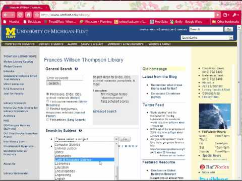 University of Michigan-Flint Thompson Library Homepage Navigation