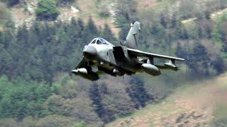 RAF Tornado Jets Flying The Mach Loop, Wales.