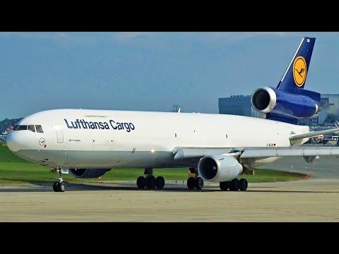 [FullHD] **RARE** Lufthansa Cargo MD-11F landing & takeoff at Geneva/GVA/LSGG
