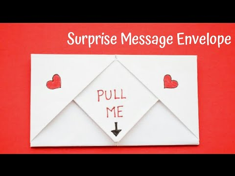 DIY Pull Tab Origami Envelope Card | Pull Tab Origami Letter Folding | DIY Surprise Message Card
