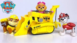 PAW PATROL GOES CAMPING RUBBLE GETS LOST AND MARSHALL DRIVES THE BULLDOZER TO FIND HIS FRIEND -STORY