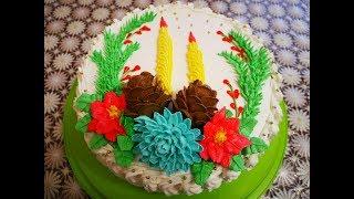 НОВОГОДНИЙ бисквитный торт с АПЕЛЬСИНОВО МАНДАРИНОВЫМ конфитюром и СЛИВОЧНЫМ кремом