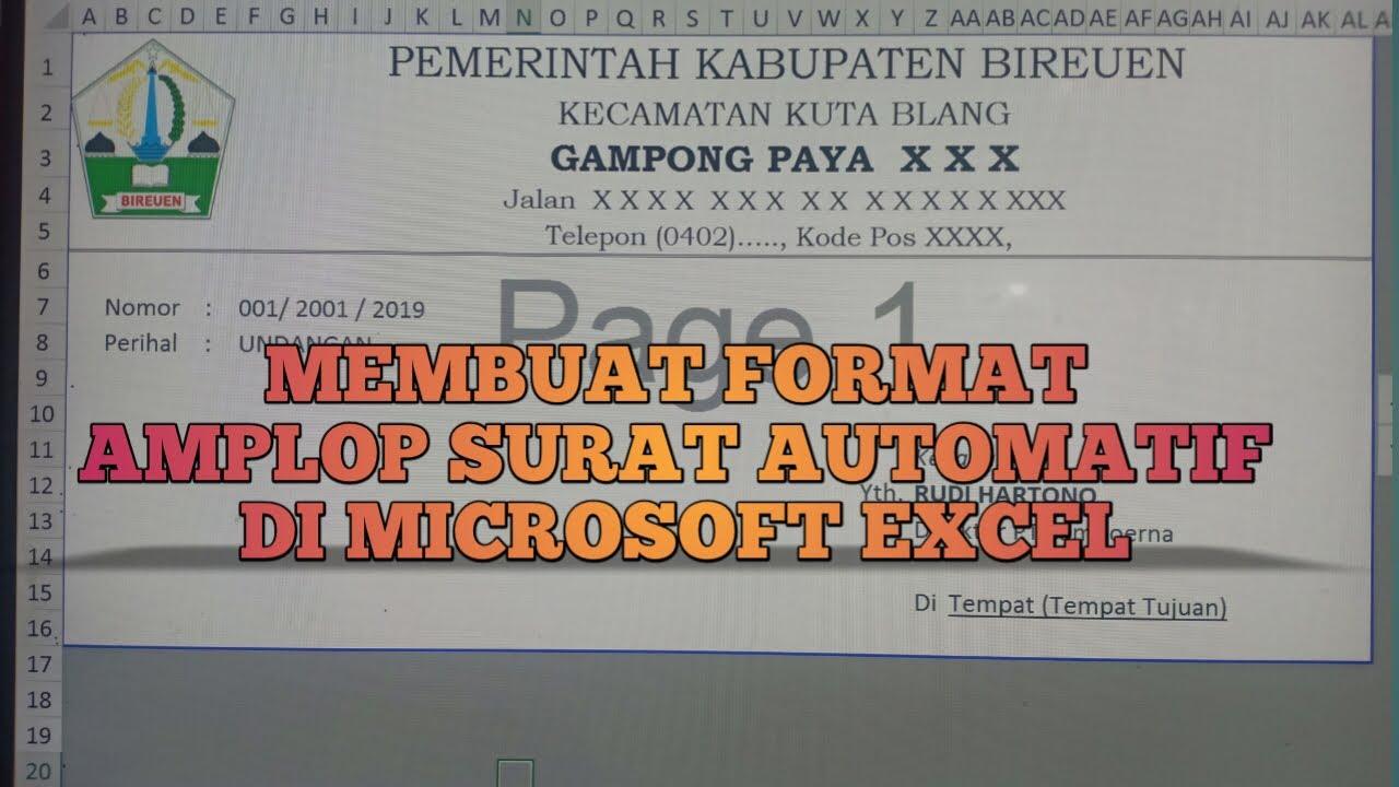Membuat Format Amplop Surat Automatis Dengan Menggunakan Microsoft Excel