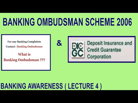 Banking Ombudsman Scheme 2006 and DICGC | Banking Awareness | Lecture 4 | Bank Po