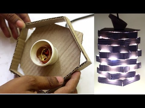 How To Make Hanging Lamp With Cardboard - Night Lamp | Decorative Hanging Lamp Making Idea