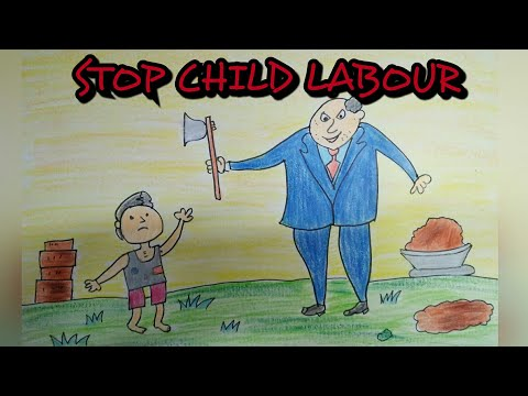 Drawing tutorial : drawing on child labour || world day against child labour| easy drawing
