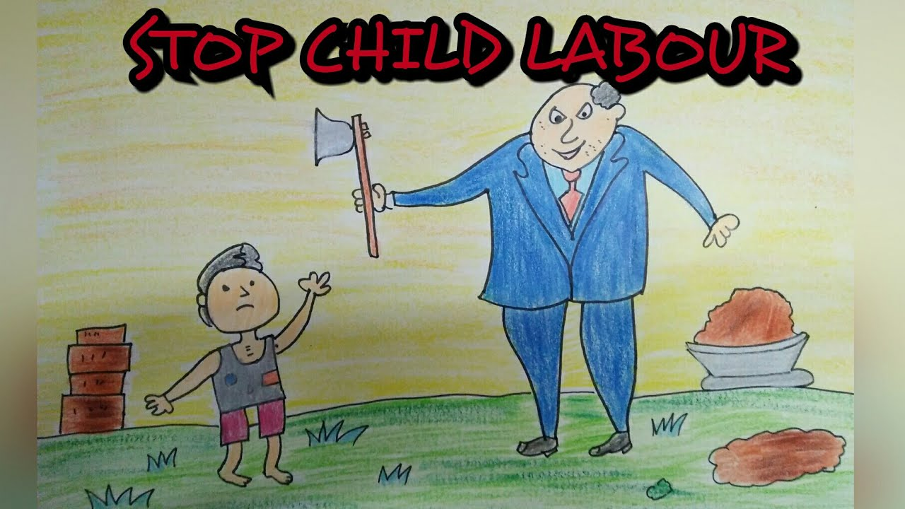 Drawing tutorial : drawing on child labour || world day ...