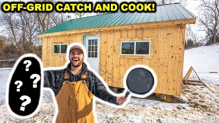 My First CATCH CLEAN COOK at the OFF-GRID Backyard CABIN!!!