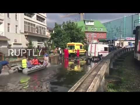 Russia Watch Heavy Rainfall Turn Krasnodar Streets To Rivers Youtube