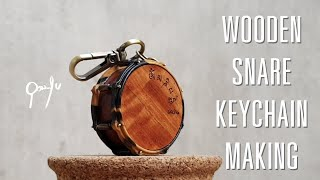 Miniature Wooden Snare Drum keychain making by udomsukmade