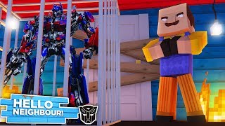 Minecraft - HELLO NEIGHBOR THREATENS TO KILL ALL THE TRANSFORMERS - Minecraft Modded Gameplay
