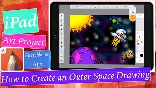 iPad Art Project - Outer Space Drawing