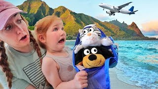 Adley PET VACATION with MOM!!  Flying animals to the Beach in Hawaii, pretend play travel routine!