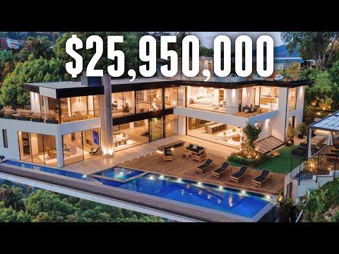 INSIDE a $25,950,000 Modern Beverly Hills Oasis | MEGA MANSION TOUR