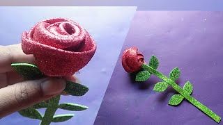 glitter  foam sheet rose/Glitter foam sheet flower making/Easy Paper crafts/Foam sheet crafts ideas