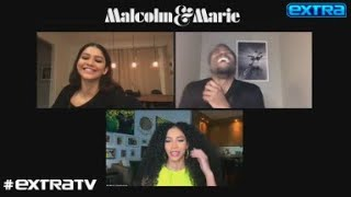 """extra's"" cheslie kryst spoke with zendaya and john david washington as they promoted their new movie ""malcolm & marie."" filmed the mo..."