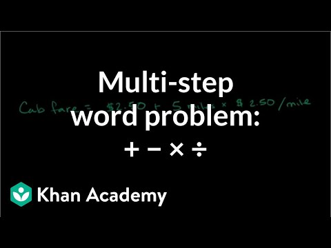 Multi Step Word Problem With Addition Subtraction And Multiplication Pre Algebra Khan Academy