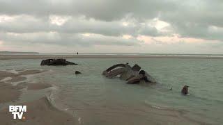L'épave d'un sous-marin allemand émerge sur une plage du nord de la France