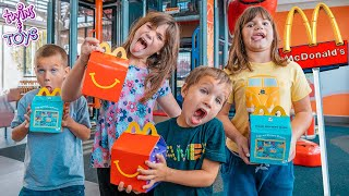 Twins Kate and Lilly go to McDonald's and get Happy Meals with Friends!