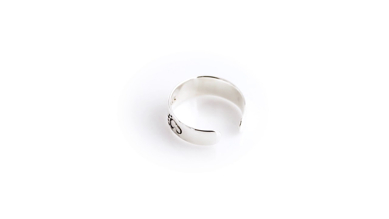 Jewelry Trends Sterling Silver Footprints In The Sand Adjustable Toe Ring