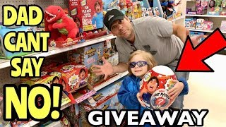 DAD Can't Say NO for 24 Hours Challenge Shopping for Ryans World Mystery Egg Giveaway