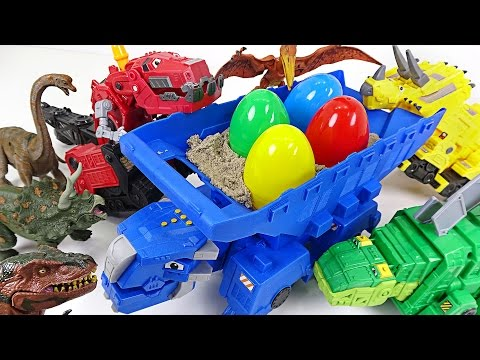 Thumbnail: A bad dinosaur stole dinosuar eggs! Dinotrux's transfoming surprise egg play! - DuDuPopTOY