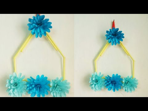 Paper Craft/ easy paper flowers wall hanging idea/ DIY projects/ room decor