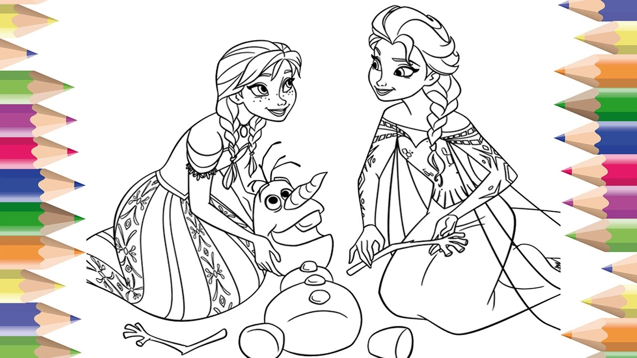 coloring pages disney frozen cartoon anna elsa and olaf coloring book learning colors - Olaf Coloring Book