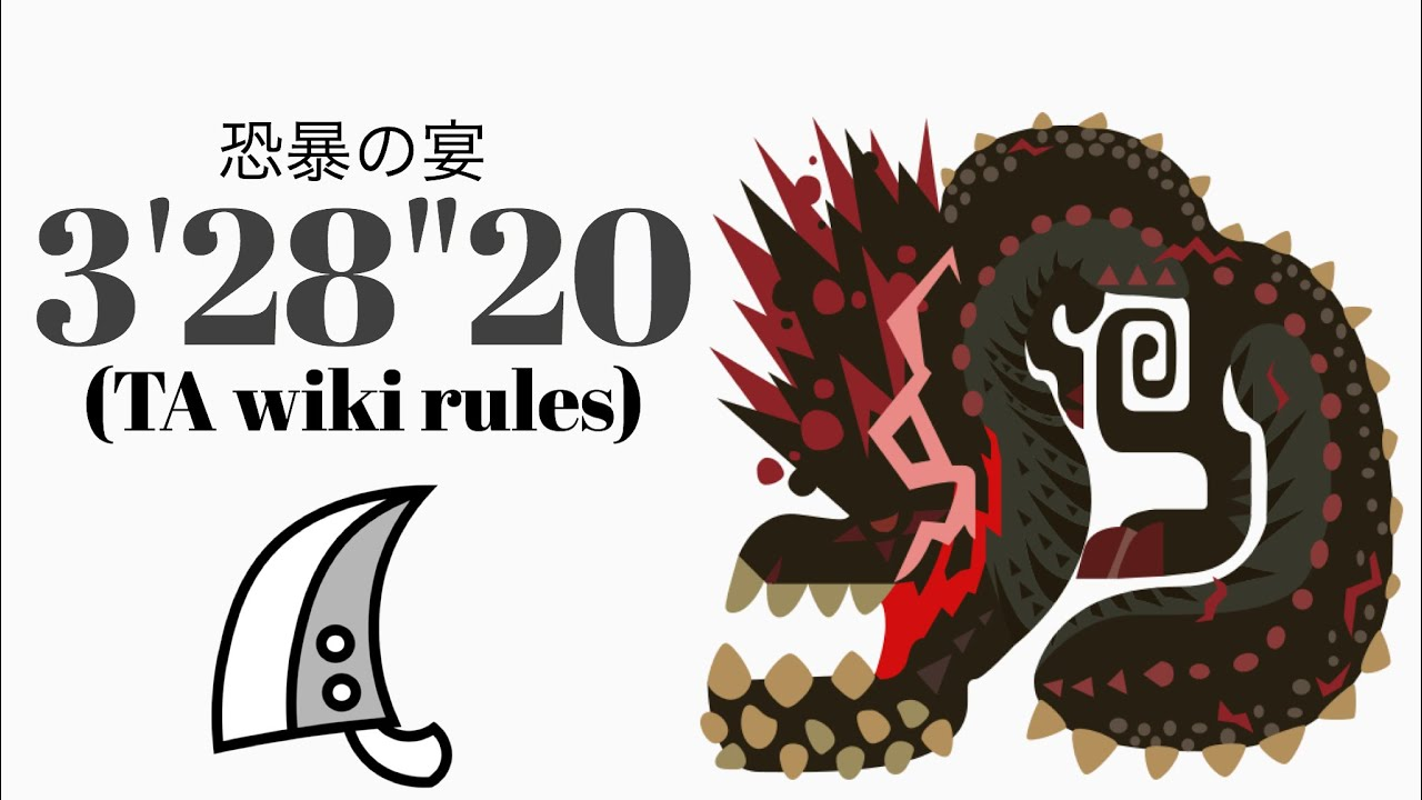 "MHWI 怒り喰らうイビルジョー 大剣 TA wiki rules 3'28""20 恐暴の宴/Savage Deviljho Greatsword solo"