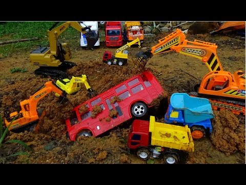 Excavator Crane Truck Rescue Bus Toys - Car Video For Kids - Construction For Children