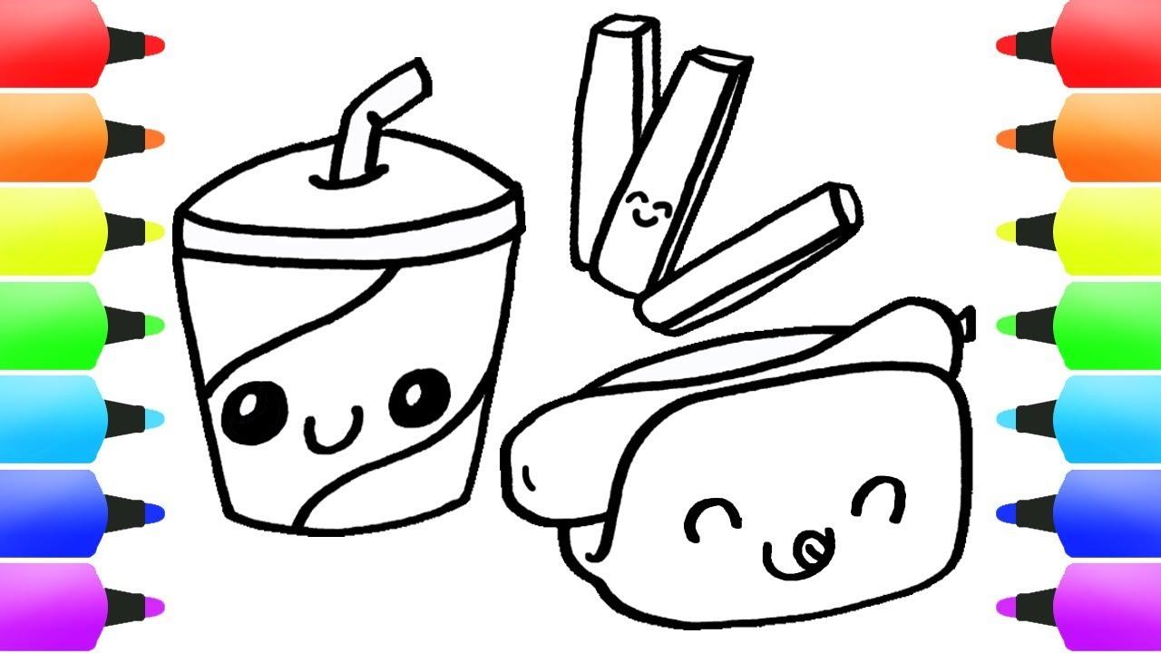 FAST FOOD (Junk Food?) Drawing for Kids! Easy Drawings & Coloring ...