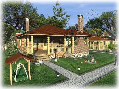 Дом с барбекю и баней камин электрический касторама