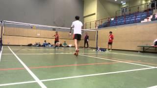 2015年羽毛球學界B grade 余振强 vs 顏寶靈