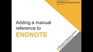Adding a Manual Reference to EndNote X8